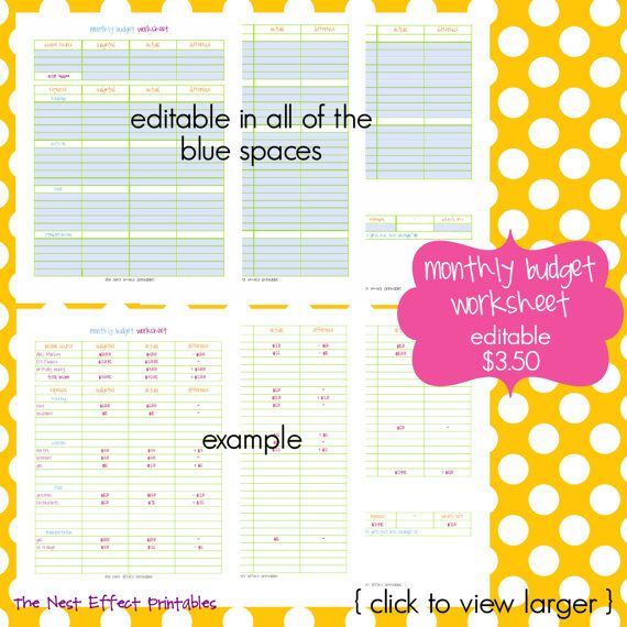 monthly budget worksheet  EDITABLE / FILLABLE PDF by thenesteffect, $3.50