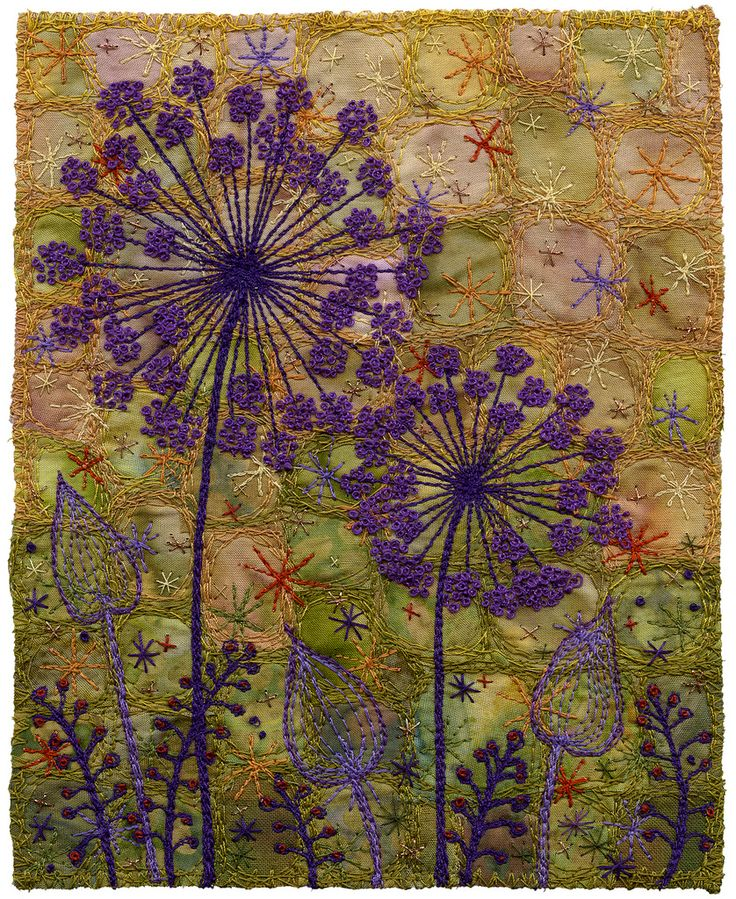 """Purple in the garden. Alliums. Silhouette. Moody, murky background. machine stitched with hand embroidered French knots. 5 ½ x 7  12"""" x 15"""" framed SOLD www.chursinoff.com/kirsten/"""