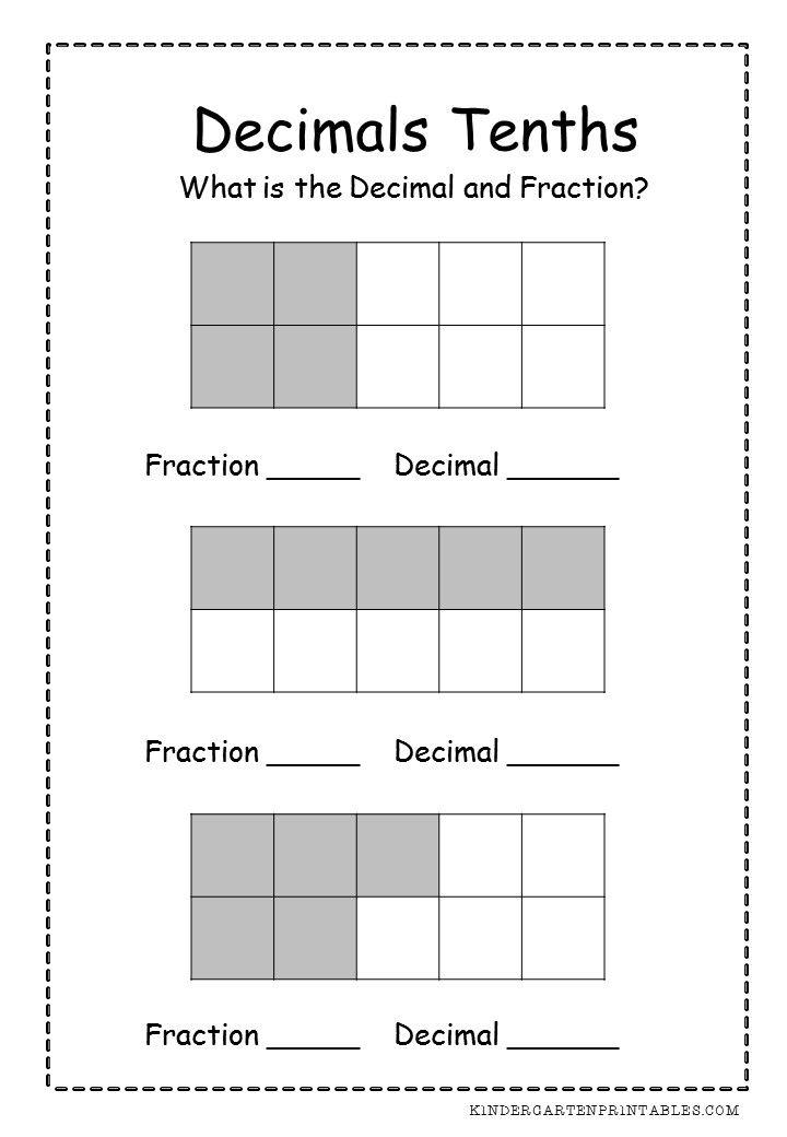 Decimals Tenths Worksheets  Decimals Tenths Worksheets