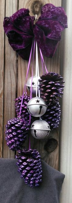 Glitter Purple Colored Pine Cones w/Giant Bells Swag by 23Frog