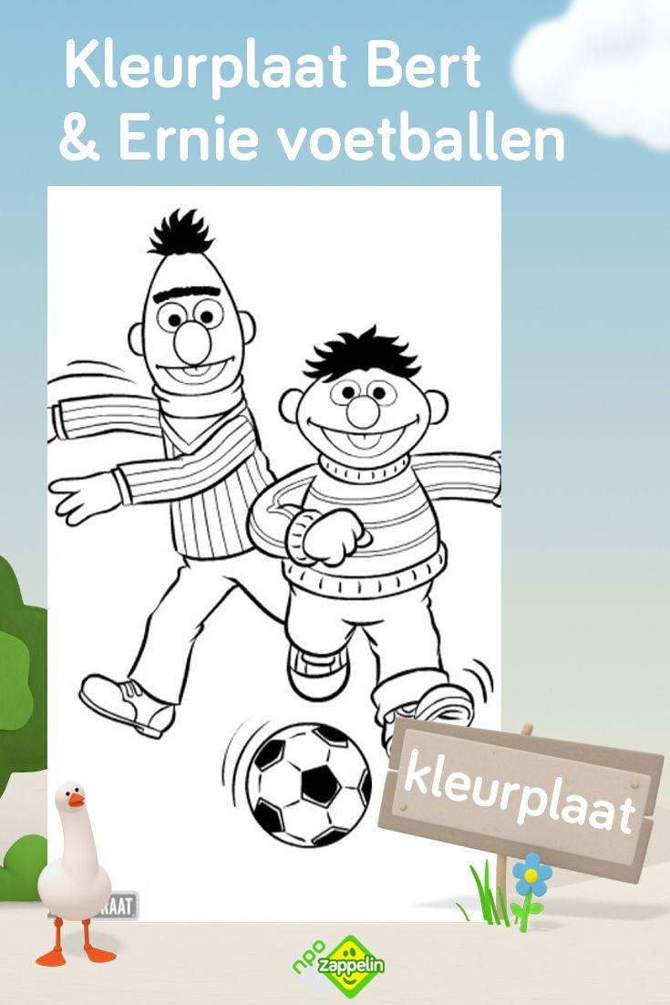 Kleurplaat Bert Ernie Voetballen Kleurplaten Kinderkleurplaten Sesamstraat