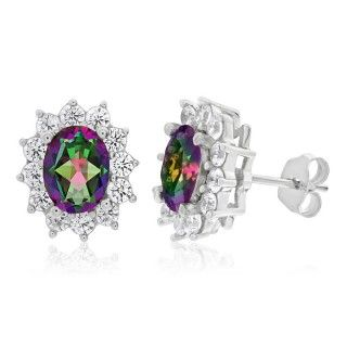 Sterling Silver Rhodium Plated Cubic Zirconia Oval Halo Stud Earrings image-a