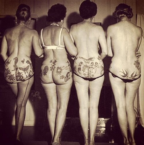 """Vintage"" tattooed bums!......they had to hide their ink somewhere"