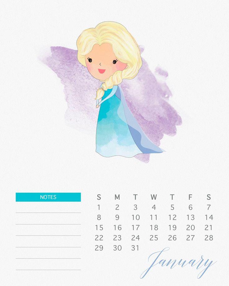 Calendario 2017 de las Princesas Disney para Imprimir Gratis.