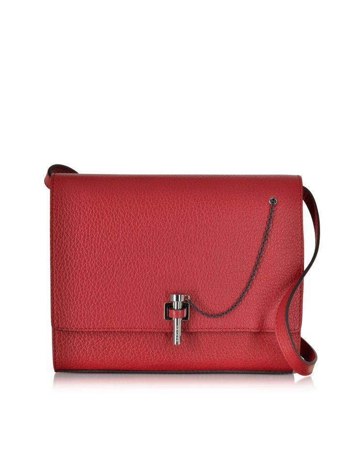 Carven Raspberry Malher Grained Leather Crossbody Bag at FORZIERI