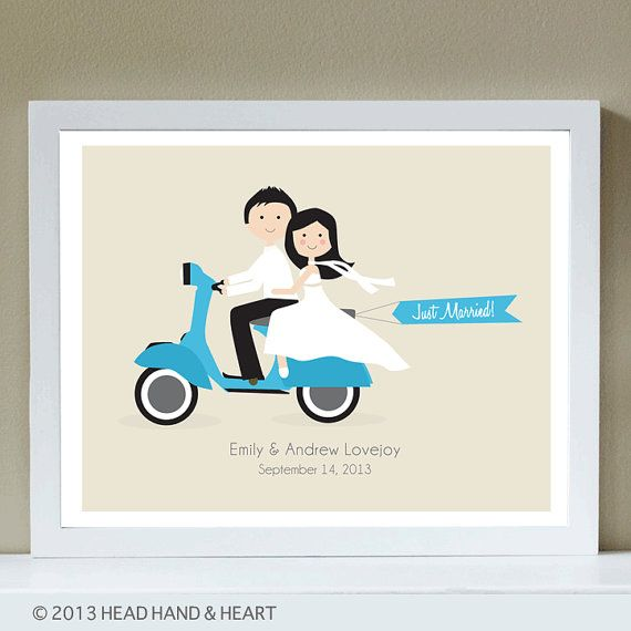 Custom Portrait, Just Married, Vespa, Wedding, off to the Honeymoon  HeadHandHeart.etsy.com
