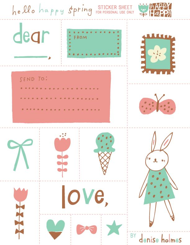 FREE printable spring stickers for kids