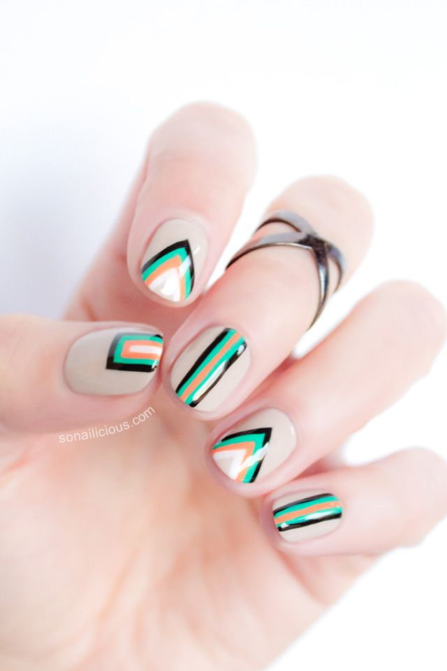 now that is different awesome looking! Edgy Geometric Nail Art – Tutorial