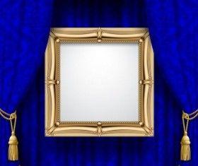 Niebieski kurtyna z ramki wektora