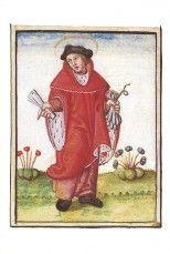 Saint-Yves. Miniature d'après un tableau autrefois au Palais ducal de Bourges. Terrier de Quantilly, vers 1540 (6 G 61, fol. 2)