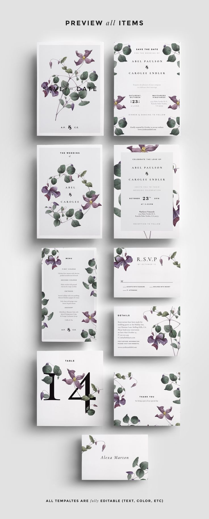 Modern Laurel Wedding Collection by paperie_press on @creativemarket