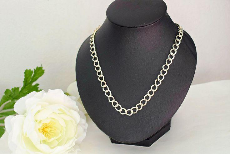 Silver Chain Necklace - Everyday Jewelry - Plain Necklace - Chainmail Jewelry - Curb Chain Necklace - Lightweight Jewelry by SkadiJewelry on Etsy