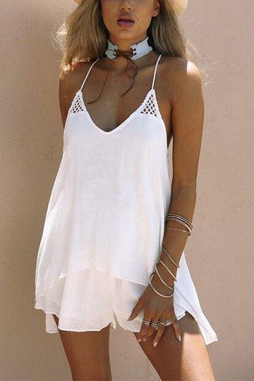 White V-Neck Sleeveless Eyelet Detail Mini Dress