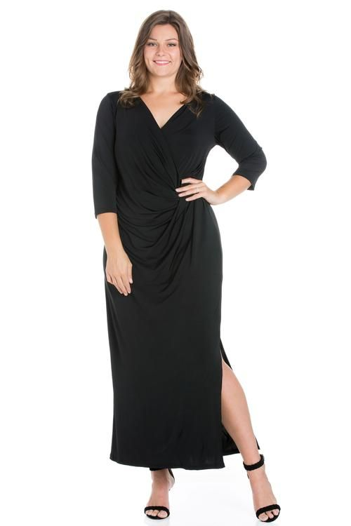 05db56b8f89 24seven Comfort Apparel Formal Plus Size Long Sleeve Maxi Dress With Side  Slit-Dresses-24Seven Comfort Apparel-BLACK-2XL-24 7 Comfort Apparel Plus  Size red ...