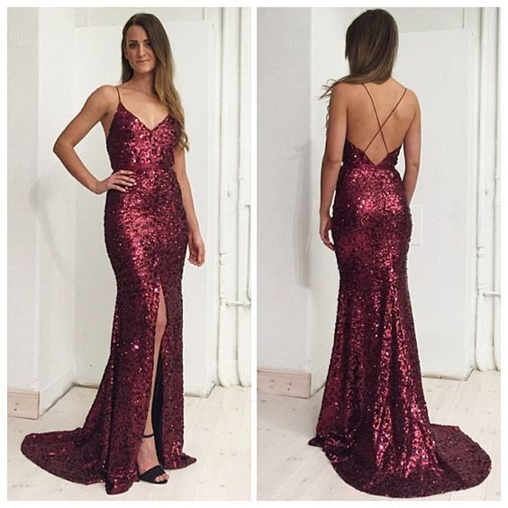 161 USD.Burgundy Sequin Prom Dresses,Long Mermaid Backless Prom Dresses,Sexy Long Party Dresses,Prom Dresses with Slit,Women Formal Evening Gowns