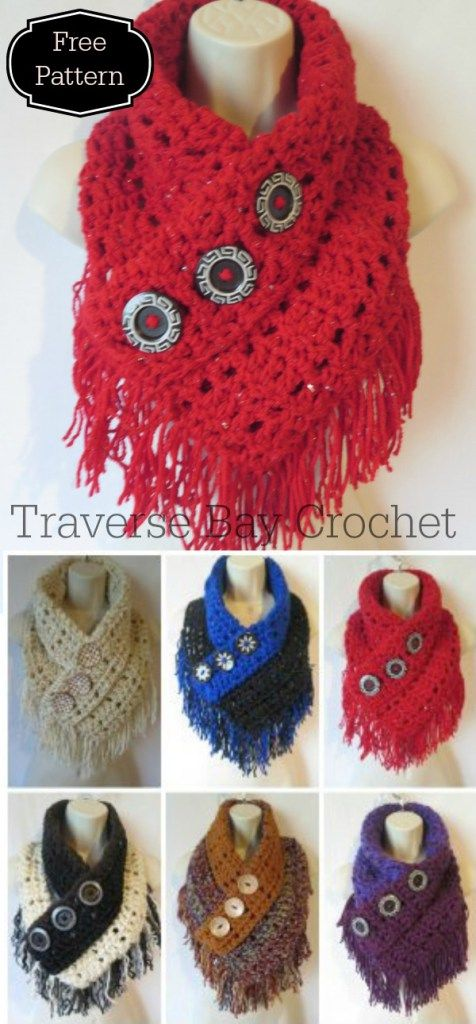 Share Tweet Pin Mail Crochet Fringe Triangle Scarf Create this gorgeous statement piece with button and fringe detail! Easy to follow directions and ...