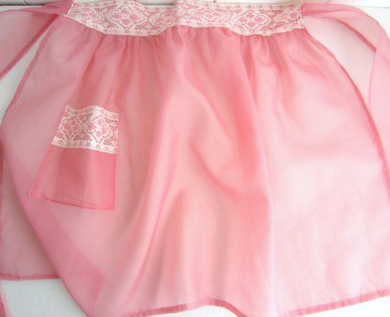 Pink Half Apron  Sheer Vintage Pink Apron with Lace by midwickhill