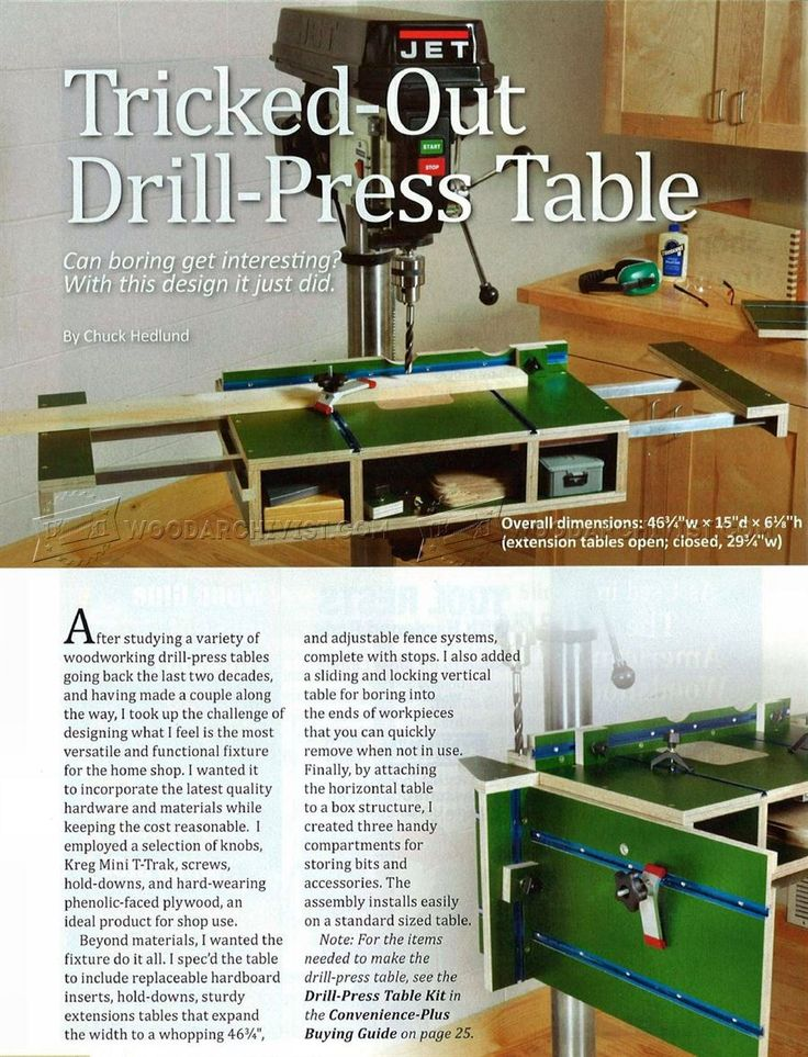 Extendable Drill Press Table Plans - Drill Press