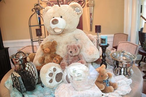 Teddy bears at baby showers and how to create height on table