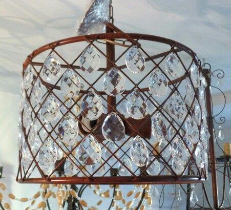 Iluminación lampara colgante 3 luces de hierro y caireles de acrílico CASA LUMINOSA