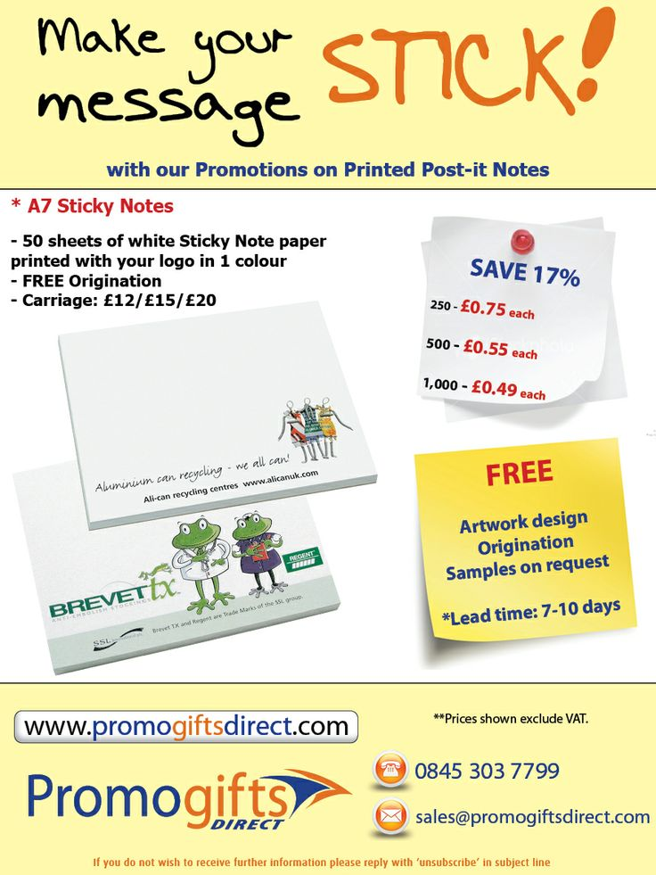 Make your message stick with our great offer on Printed Promotional Sticky Notes!  Contact us today to order and get delivery before Christmas!  0845 303 7799 or sales@promogiftsdirect.com