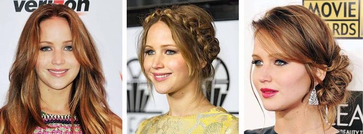 Hangi davet olursa olsun saç ve makyajında naturel görüntüden ödün vermeyen Jennifer Lawrance'in üç farklı saç stili...