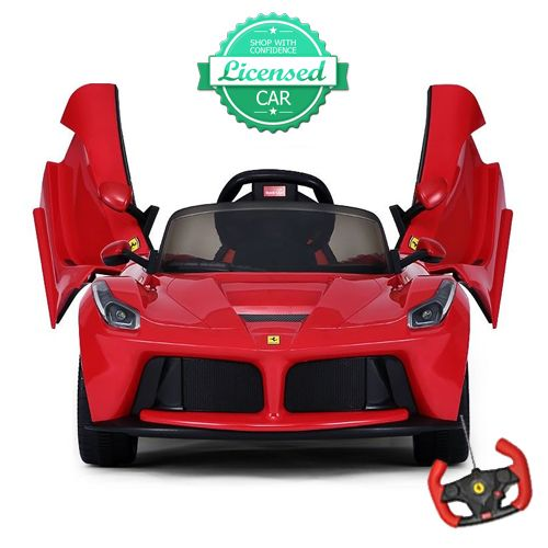 brand new for licensed ferrari kids electric car ride on car in gloss red with semi automatic doors parental remote control and aux input to play your