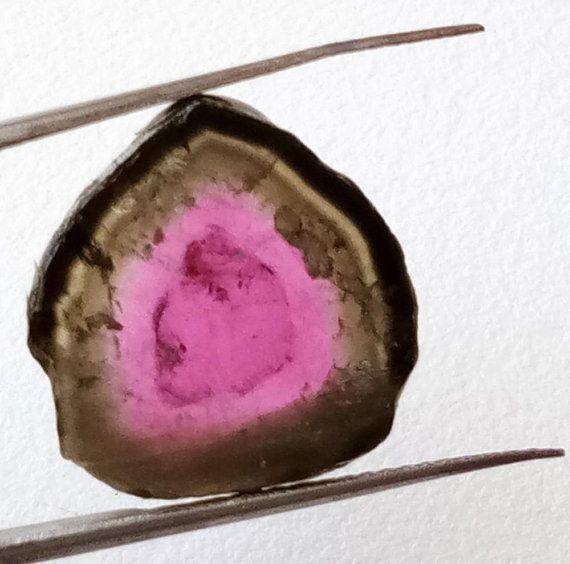 Rare Watermelon Tourmaline Rough Slice, 17.5x18mm OOAK Watermelon Tourmaline Slice Pendant, Loose Tourmaline Jewelry - PUSSG23
