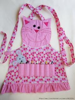 Kitty crayon apron. Nx