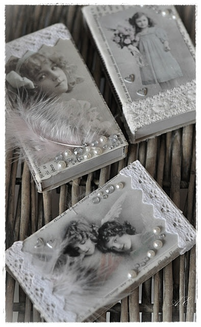 Vintage Boxes ~ decorated with vintage photos (you can download some from the internet). Embellish with pearls, lace trim & rhinestones.