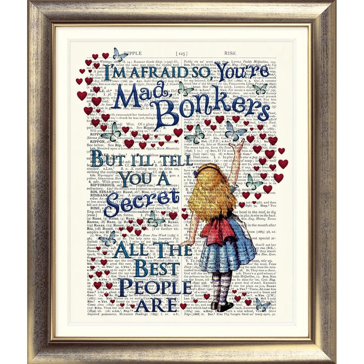 ART PRINT ORIGINAL ANTIQUE BOOK PAGE Vintage Alice in Wonderland BONKERS Quote