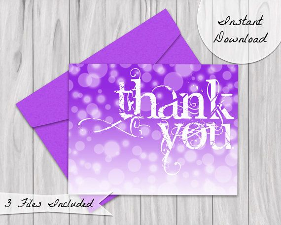 Printable Thank you card in purple ombre.