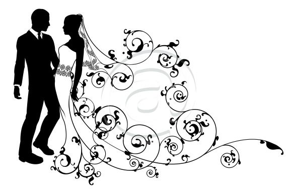Wedding Couple Silhouette | bride and groom wedding couple in silhouette with beautiful bridal ...