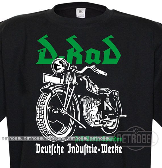 T-Shirt D-Rad motorcycles Black Classic Vintage Motorcycle