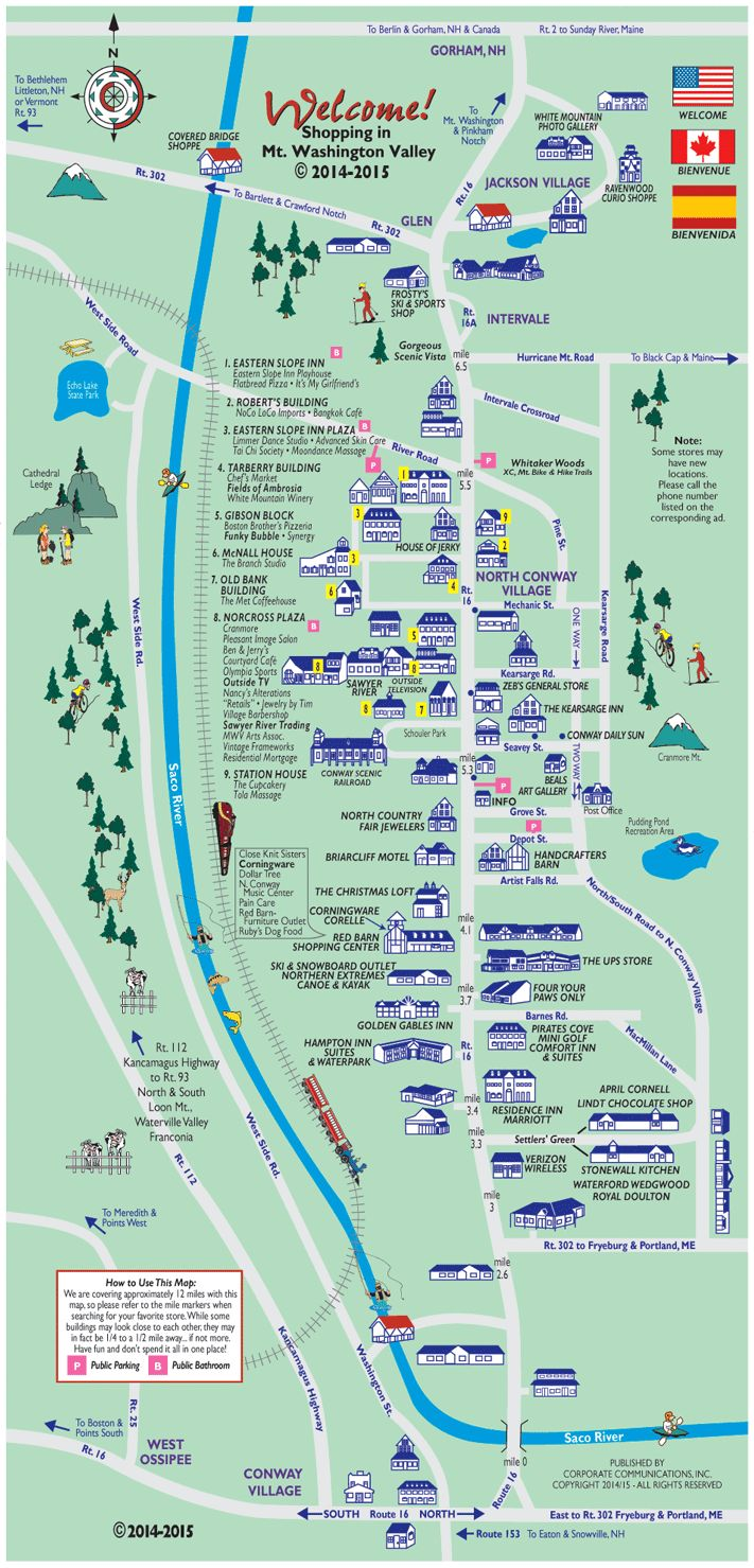 North Conway NH Outlets And New Hampshire Shopping Map And Guide - North convey in us map