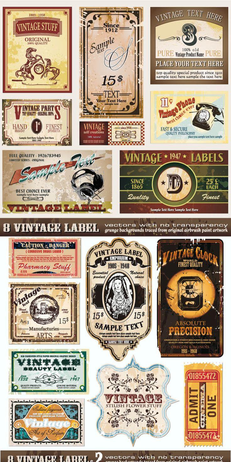 Grunge vintage labels vector