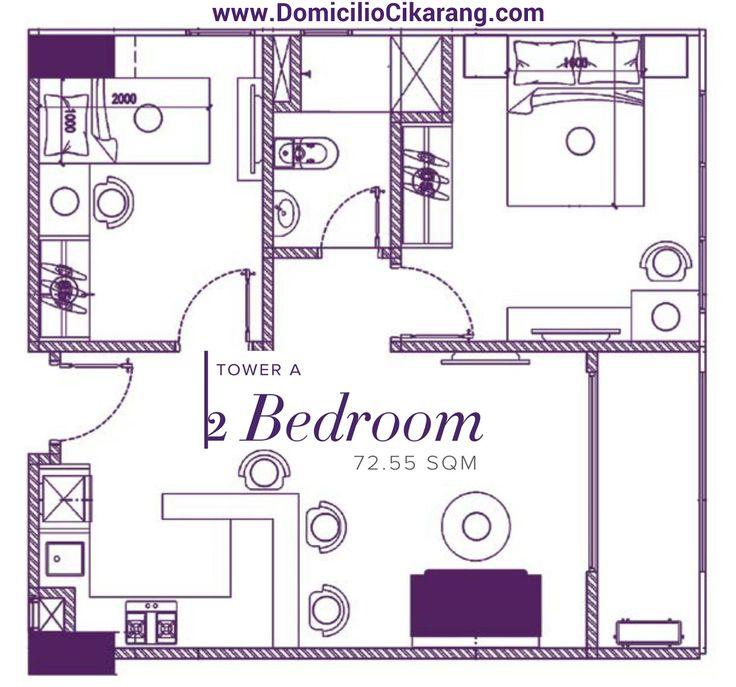 Denah Unit Apartemen Domicilio Cikarang 2 BR.