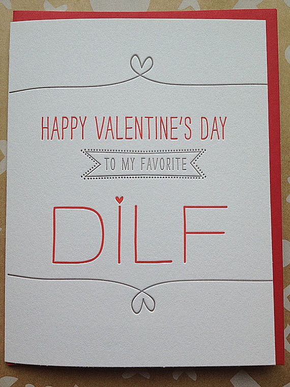 Valentine's Day Card for Husband, Boyfriend, Hot Dad - DILF - Letterpress Valentines Day. $5.00, via Etsy.