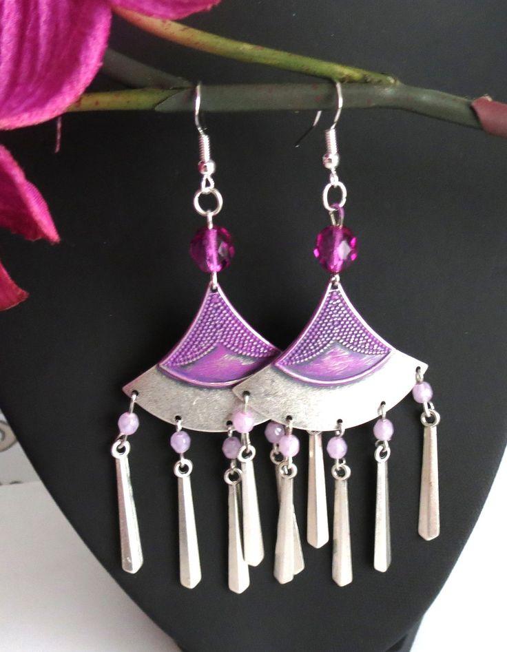 """Belles boucles d'oreilles d'inspiration égyptienne """"Nout"""" : Boucles d'oreille par perlescence"""