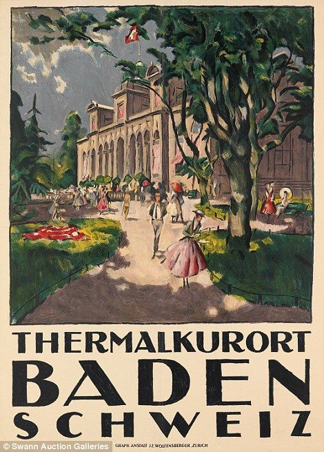 The travel poster for Baden's thermal spa depicts beautiful gardens....