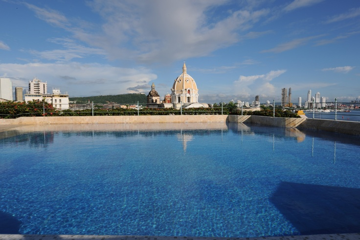 Pool with a view at Hotel Charleston Santa Teresa, Cartagena, Colombia. The church lit up at nite. It was so beautiful!