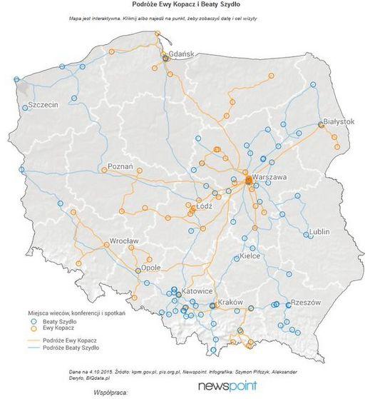 Aktualna mapa podróży przedwyborczych Ewy Kopacz i Beaty Szydło, którą współtworzymy wraz z serwisem BIQdata!  http://biqdata.pl/mapa-podrozy-ewy-kopacz-i-beaty-szydlo