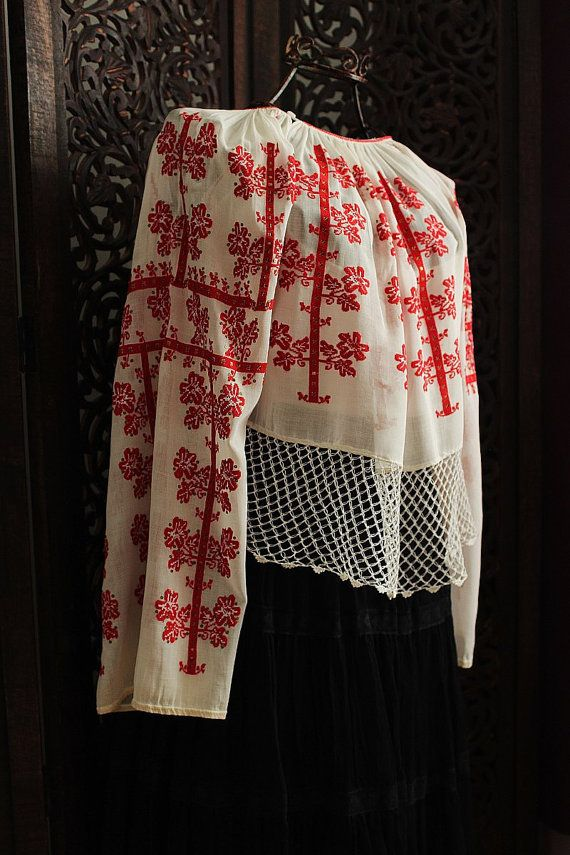 antique romanian red cross stitch embroidered blouse on neutral white fabric  / unique handmade - art to wear