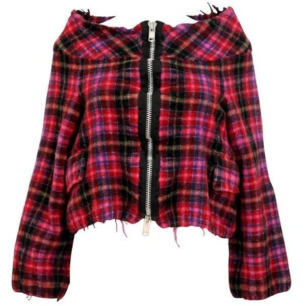 Preowned Comme Des Garcons Tricot 2004 Pink Checked Cropped Jacket ($411) ❤ liked on Polyvore featuring outerwear, jackets, pink, checkered jacket, pink zip jacket, red checkered jacket, pink cropped jacket and red zipper jacket