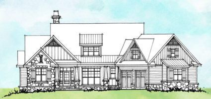 House plan 1523 is a conceptual design with a rustic exterior and a family-friendly floor plan. This design offers a mud room and garage workshop.