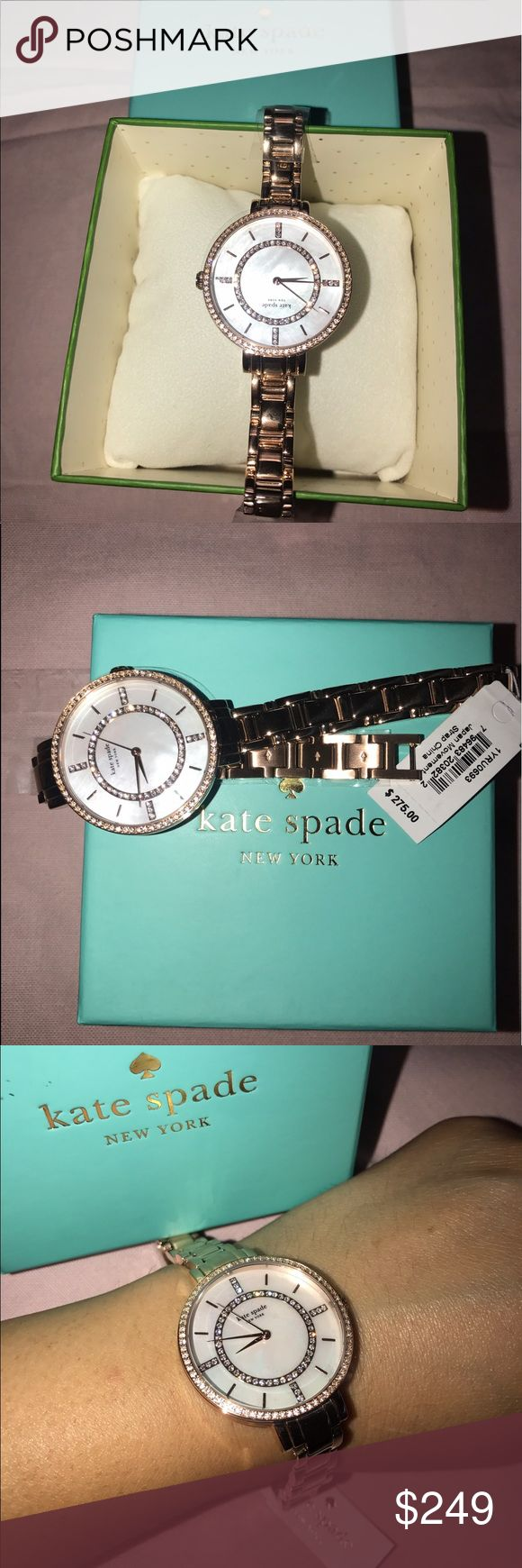 Kate Spade Rose Gold Rhinestone Watch Bling bling with a pop of pink! Love this new with tags Kate Spade watch. Bring the sparkle and shine like the diamond you are in this watch. Beautiful! kate spade Accessories Watches