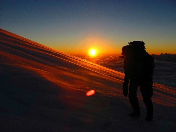 The amazing sunset from creater rim of Rinjani Mt