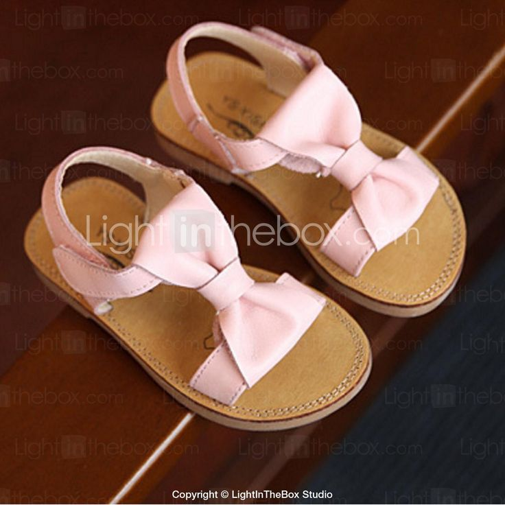 Girls' Shoes Casual Cowhide Sandals Summer Comfort / Open Toe Flat Heel Bowknot Green / Pink / White