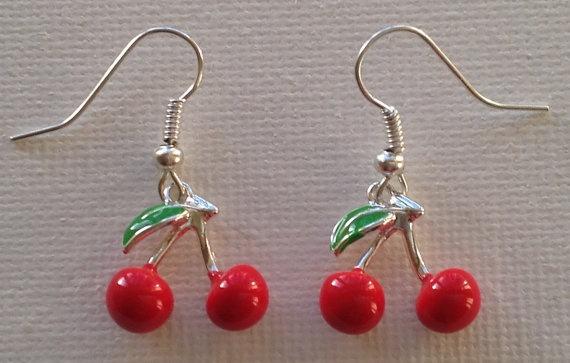 Cherry Earrings by Mogglepops on Etsy, €4.99