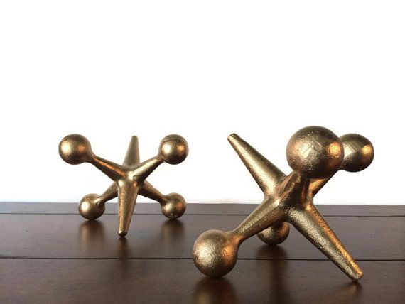 Gold Cast Iron Jacks Bookends  2 Large Mid by UrbanTradingPost